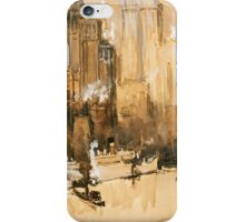 Vintage Cityscape and Ocean Liner Watercolour painting iPhone Case/Skin