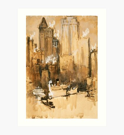 Vintage Cityscape and Ocean Liner Watercolour painting Art Print