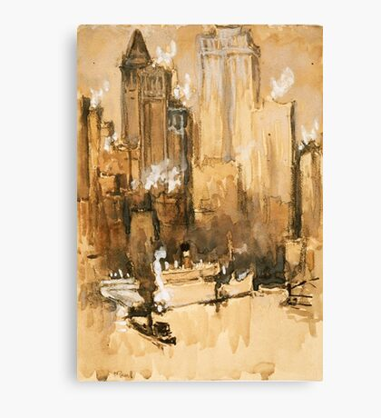 Vintage Cityscape and Ocean Liner Watercolour painting Canvas Print