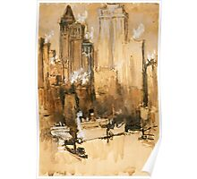 Vintage Cityscape and Ocean Liner Watercolour painting Poster