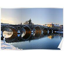 Evening sun shines through the arches of Graiguenamanagh bridge, County Kilkenny, Ireland Poster