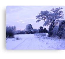 Snowy Village View Canvas Print