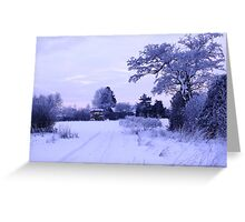 Snowy Village View Greeting Card