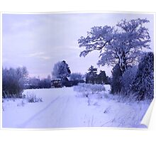 Snowy Village View Poster