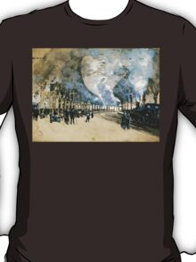 Vintage Watercolour Steam Trains and crowded rail tunnel T-Shirt