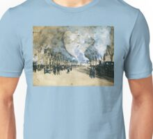 Vintage Watercolour Steam Trains and crowded rail tunnel Unisex T-Shirt