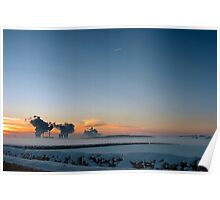 Snowy Sunrise over Misty Power Stations Poster