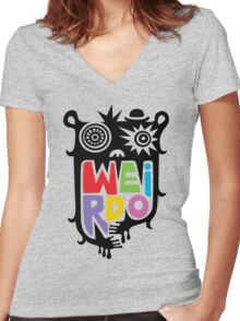 Big Weirdo - beige Women's Fitted V-Neck T-Shirt