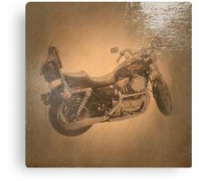 Harley Sportster Motorcycle Antiqued Oil Painting Canvas Print