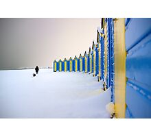 Beach Huts In The Snow Photographic Print