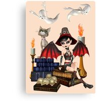 The Witch, The Cat and The Ghosts  Canvas Print