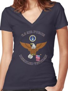 US Air Force Disabled Veteran Eagle Shield Women's Fitted V-Neck T-Shirt