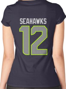 Seahawks - 12th Man - Blue Women's Fitted Scoop T-Shirt