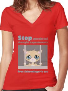 Free schrodingers cat geek funny nerd Women's Fitted V-Neck T-Shirt