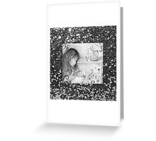 Vintage Grey Carousel Dreams Faux Silver Glitter Greeting Card