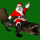 Santa Claus Riding An Alligator by Mythos57