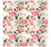 Pattern with roses Poster