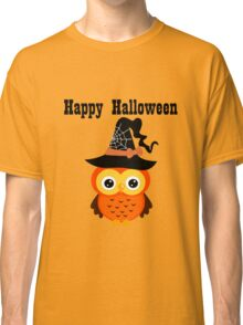 Halloween owl with witch hat square geek funny nerd Classic T-Shirt