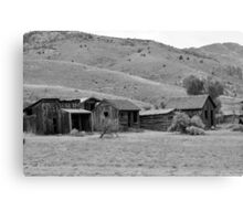 Bannack Ghost Town - Bachelors Row (Black & White) Canvas Print