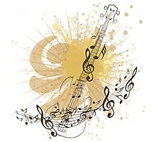 Music Poster with Guitar 4 Photographic Print