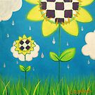 Silver Rain Falls on Quilted Flowers by laumbach90