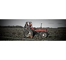 Boys on a tractor Photographic Print