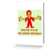 Green Monster Halloween Birthday Greeting Card
