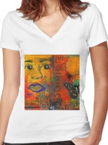 Paint Your Dreams, Ms Angela Women's Fitted V-Neck T-Shirt