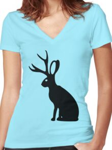 Jackalope geek funny nerd Women's Fitted V-Neck T-Shirt
