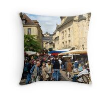 Dordogne - Market day in Sarlat Throw Pillow