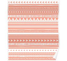 Coral White Tribal pattern Poster
