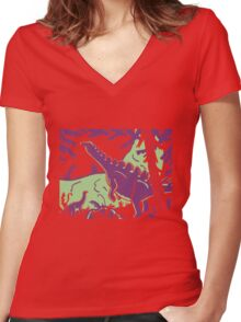 Long Necks - Green and Purple Women's Fitted V-Neck T-Shirt