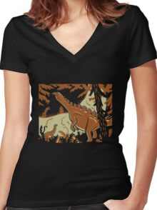 Long Necks - Tan and Orange Women's Fitted V-Neck T-Shirt