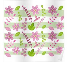 Pink and Green Floral Design Poster