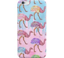 Colorful Watercolor Painted Ostrich Pattern iPhone Case/Skin