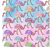 Colorful Watercolor Painted Ostrich Pattern Photographic Print