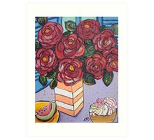 Roses and cup cake.. Art Print