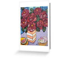 Roses and cup cake.. Greeting Card