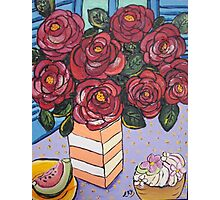 Roses and cup cake.. Photographic Print
