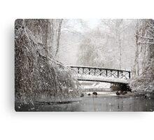 Bridge In The Snow Canvas Print