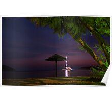 Anchored sailing boat illuminated at dusk Poster