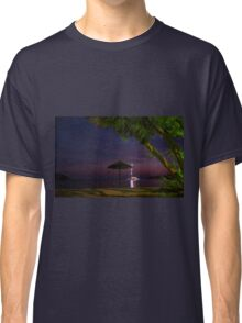 Anchored sailing boat illuminated at dusk Classic T-Shirt