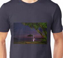 Anchored sailing boat illuminated at dusk Unisex T-Shirt