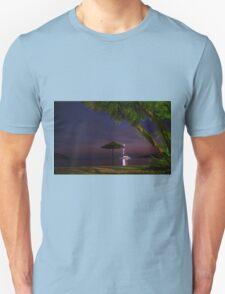 Anchored sailing boat illuminated at dusk T-Shirt