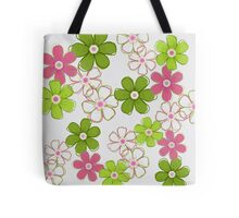 Pink and Green Floral Design Tote Bag