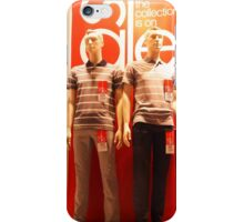 Two male mannequin in a glass case iPhone Case/Skin