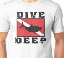 Shark SCUBA Flag Dive Deep Unisex T-Shirt