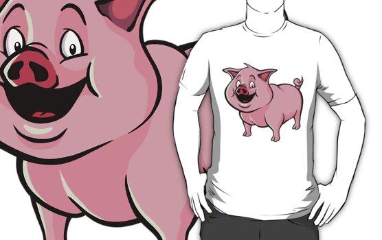 Happy cartoon pig by Colin Cramm