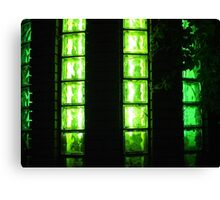 Decorative wall with green lights at night Canvas Print