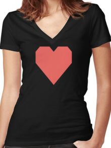 Pastel Red Women's Fitted V-Neck T-Shirt